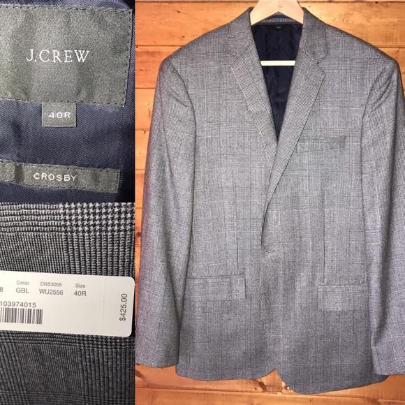 J. Crew Other - $425 NWT J. Crew Crosby glen plaid suit blazer 40R